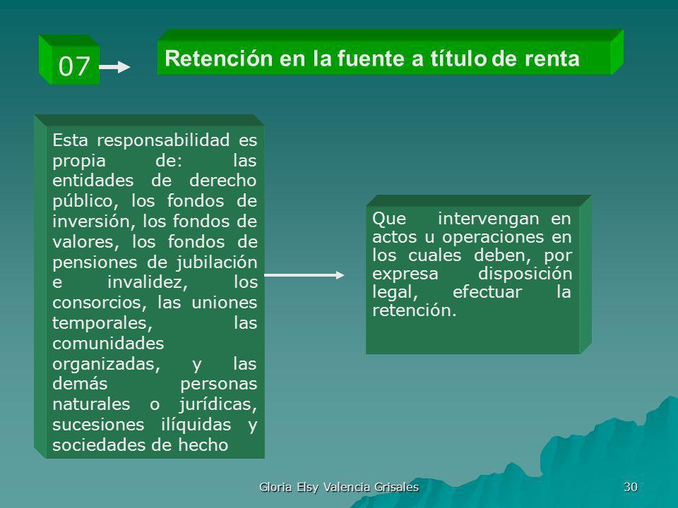 Gloria Elsy Valencia Grisales 30 Retención en la fuente a título de renta 07 Esta responsabilidad es propia de: las entidades de derecho público, los