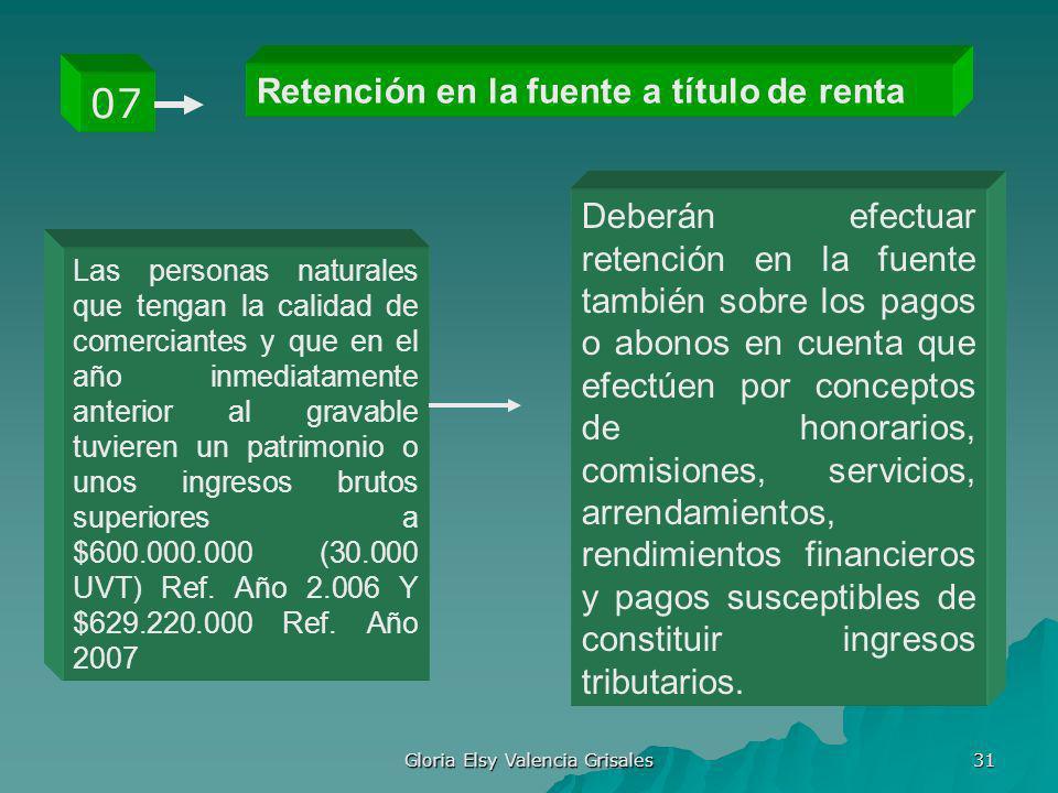 Gloria Elsy Valencia Grisales 31 Retención en la fuente a título de renta 07 Las personas naturales que tengan la calidad de comerciantes y que en el