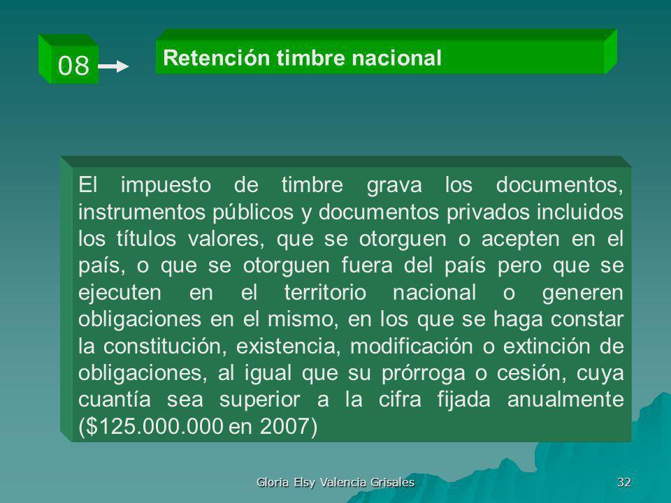 Gloria Elsy Valencia Grisales 32 Retención timbre nacional 08 El impuesto de timbre grava los documentos, instrumentos públicos y documentos privados
