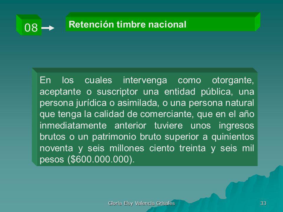 Gloria Elsy Valencia Grisales 33 Retención timbre nacional 08 En los cuales intervenga como otorgante, aceptante o suscriptor una entidad pública, una