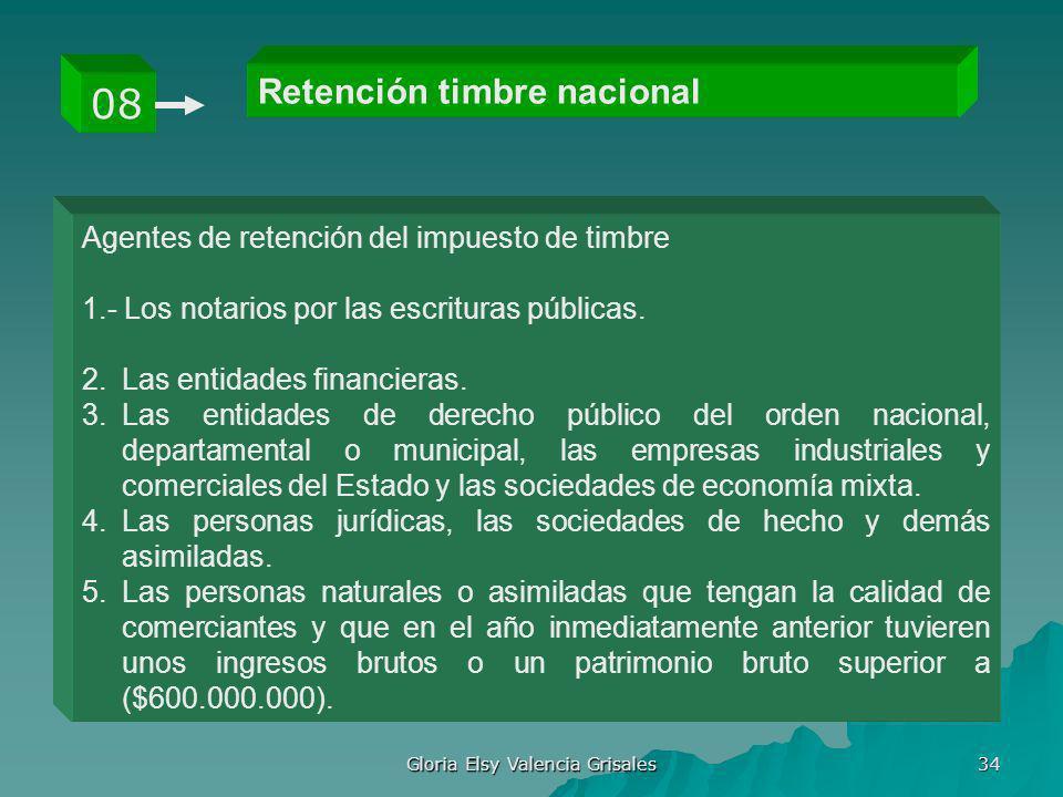 Gloria Elsy Valencia Grisales 34 Retención timbre nacional 08 Agentes de retención del impuesto de timbre 1.- Los notarios por las escrituras públicas