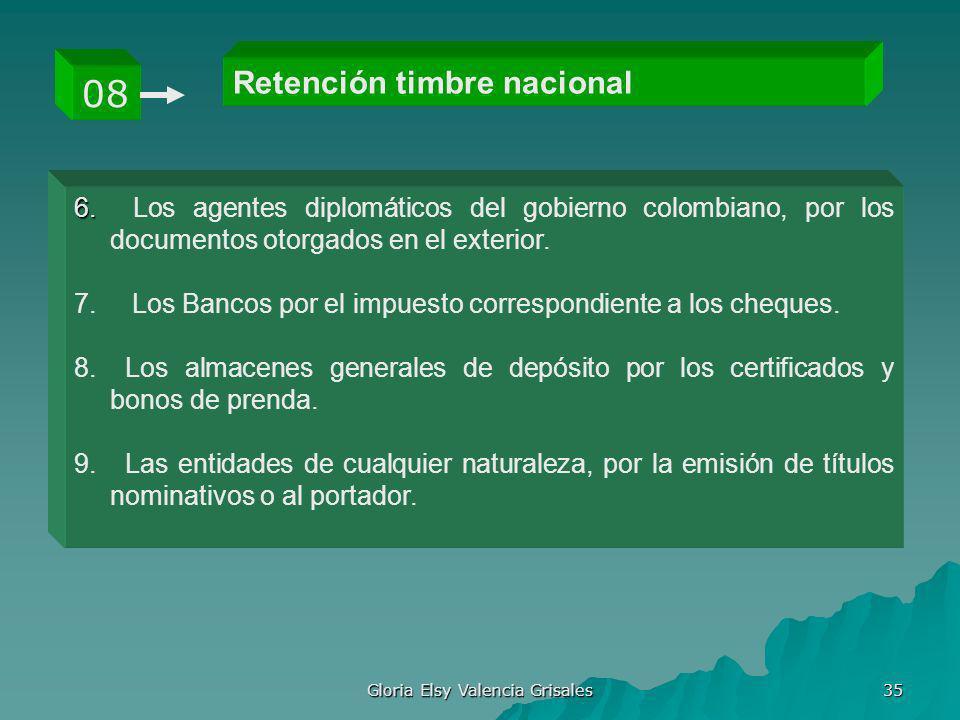 Gloria Elsy Valencia Grisales 35 Retención timbre nacional 08 6. 6. Los agentes diplomáticos del gobierno colombiano, por los documentos otorgados en