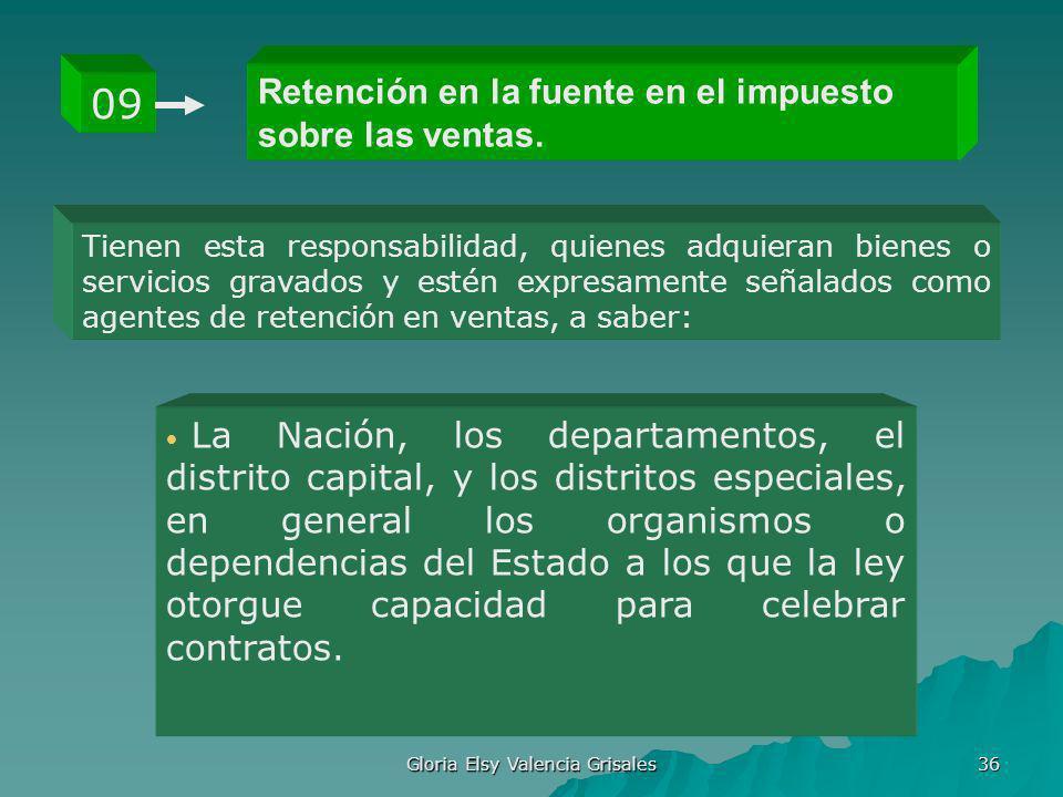 Gloria Elsy Valencia Grisales 36 Retención en la fuente en el impuesto sobre las ventas. 09 Tienen esta responsabilidad, quienes adquieran bienes o se