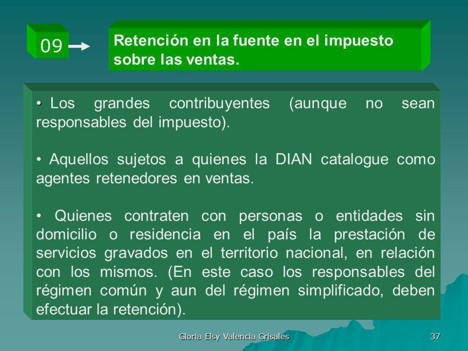 Gloria Elsy Valencia Grisales 37 Retención en la fuente en el impuesto sobre las ventas. 09 Los grandes contribuyentes (aunque no sean responsables de