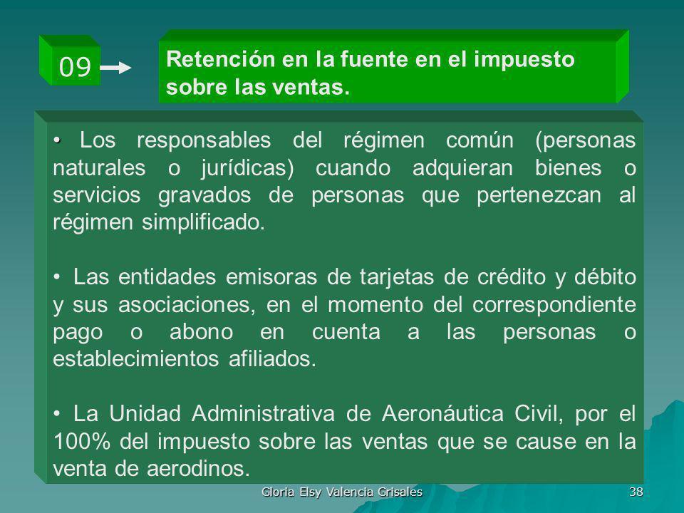 Gloria Elsy Valencia Grisales 38 Retención en la fuente en el impuesto sobre las ventas. 09 Los responsables del régimen común (personas naturales o j