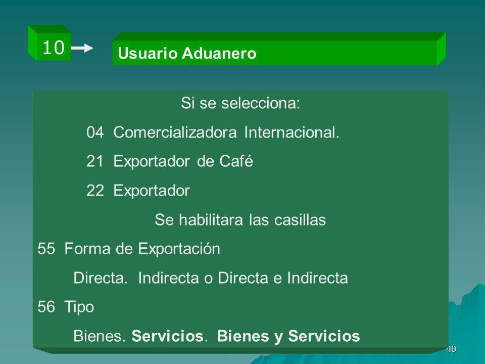 Gloria Elsy Valencia Grisales 40 Usuario Aduanero 10 Si se selecciona: 04 Comercializadora Internacional. 21 Exportador de Café 22 Exportador Se habil