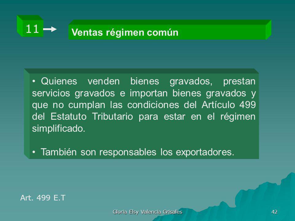 Gloria Elsy Valencia Grisales 42 Ventas régimen común 11 Quienes venden bienes gravados, prestan servicios gravados e importan bienes gravados y que n