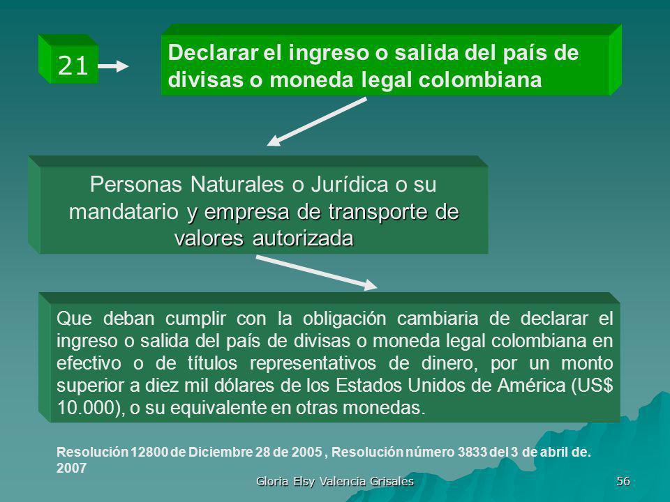 Gloria Elsy Valencia Grisales 56 Declarar el ingreso o salida del país de divisas o moneda legal colombiana 21 y empresa de transporte de valores auto
