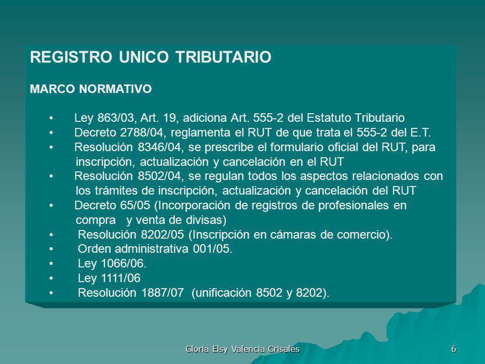 Gloria Elsy Valencia Grisales 6 REGISTRO UNICO TRIBUTARIO MARCO NORMATIVO Ley 863/03, Art. 19, adiciona Art. 555-2 del Estatuto Tributario Decreto 278