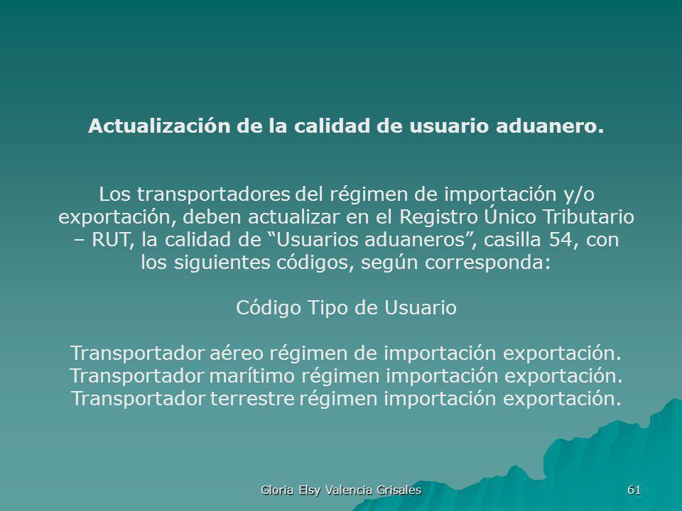 Gloria Elsy Valencia Grisales 61 Actualización de la calidad de usuario aduanero. Los transportadores del régimen de importación y/o exportación, debe