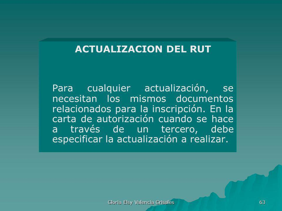 Gloria Elsy Valencia Grisales 63 ACTUALIZACION DEL RUT Para cualquier actualización, se necesitan los mismos documentos relacionados para la inscripci