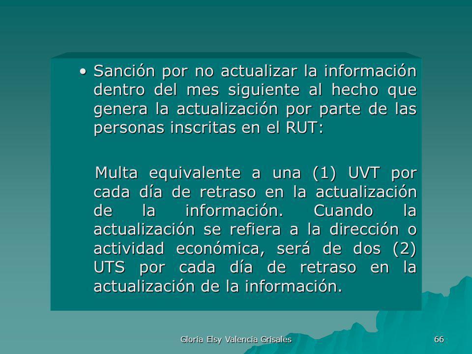 Gloria Elsy Valencia Grisales 66 Sanción por no actualizar la información dentro del mes siguiente al hecho que genera la actualización por parte de l