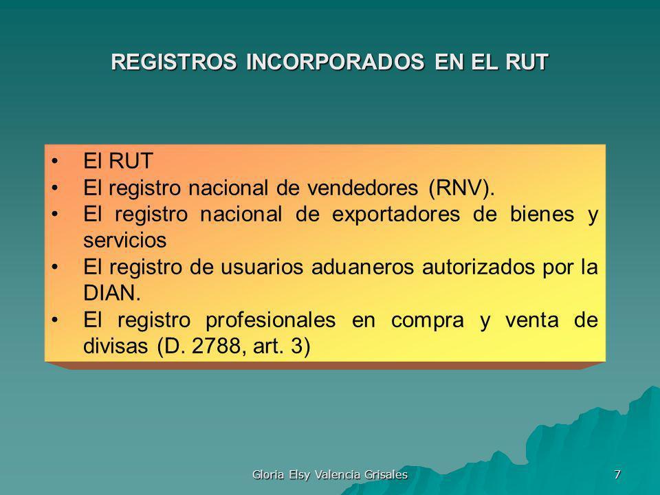 Gloria Elsy Valencia Grisales 7 REGISTROS INCORPORADOS EN EL RUT El RUT El registro nacional de vendedores (RNV). El registro nacional de exportadores