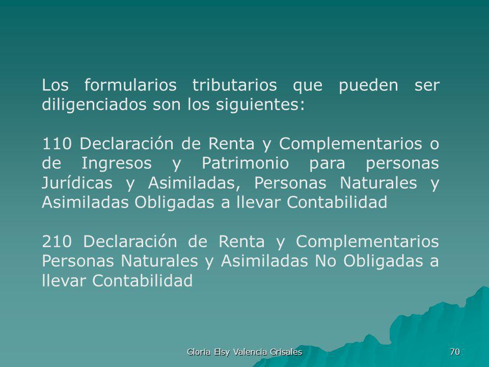 Gloria Elsy Valencia Grisales 70 Los formularios tributarios que pueden ser diligenciados son los siguientes: 110 Declaración de Renta y Complementari