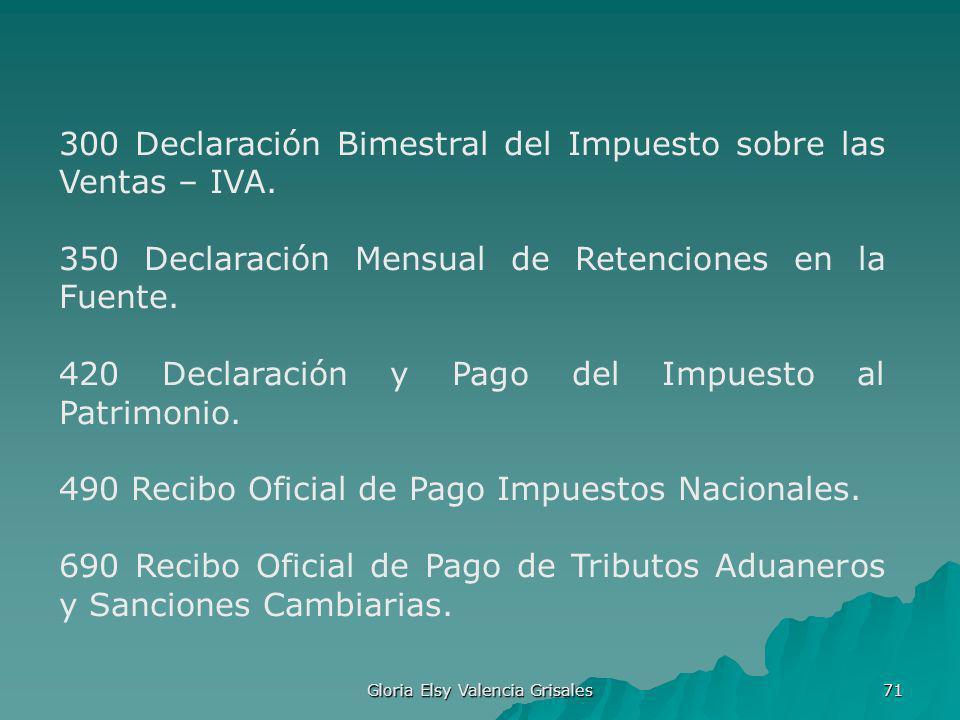 Gloria Elsy Valencia Grisales 71 300 Declaración Bimestral del Impuesto sobre las Ventas – IVA. 350 Declaración Mensual de Retenciones en la Fuente. 4