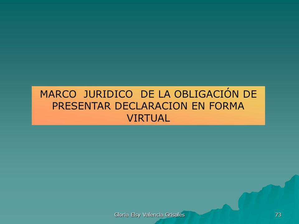 Gloria Elsy Valencia Grisales 73 MARCO JURIDICO DE LA OBLIGACIÓN DE PRESENTAR DECLARACION EN FORMA VIRTUAL