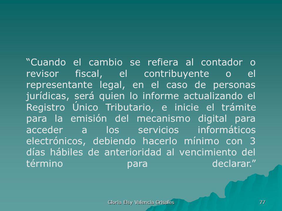 Gloria Elsy Valencia Grisales 77 Cuando el cambio se refiera al contador o revisor fiscal, el contribuyente o el representante legal, en el caso de pe