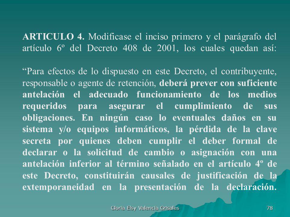 Gloria Elsy Valencia Grisales 78 ARTICULO 4. Modificase el inciso primero y el parágrafo del artículo 6º del Decreto 408 de 2001, los cuales quedan as