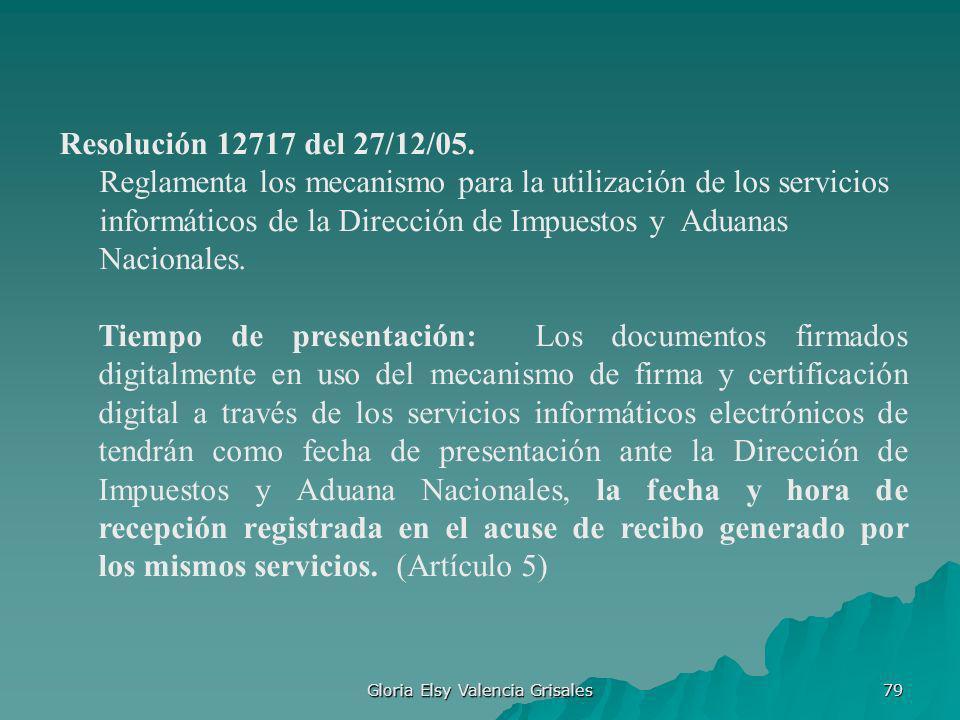 Gloria Elsy Valencia Grisales 79 Resolución 12717 del 27/12/05. Reglamenta los mecanismo para la utilización de los servicios informáticos de la Direc