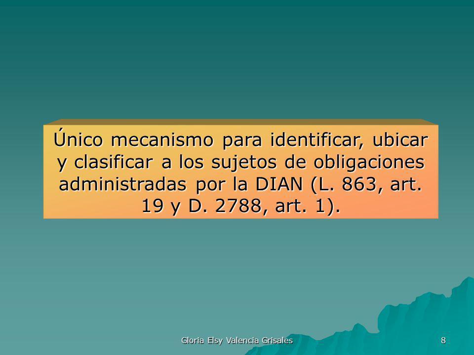 Gloria Elsy Valencia Grisales 8 Único mecanismo para identificar, ubicar y clasificar a los sujetos de obligaciones administradas por la DIAN (L. 863,