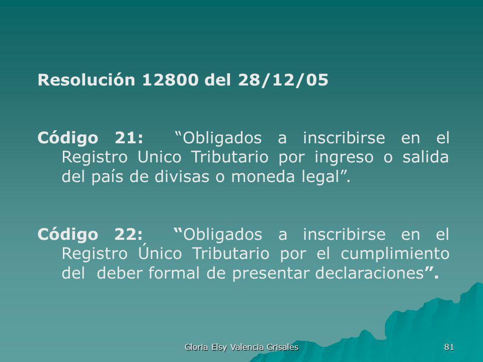 Gloria Elsy Valencia Grisales 81 Resolución 12800 del 28/12/05 Código 21: Obligados a inscribirse en el Registro Unico Tributario por ingreso o salida