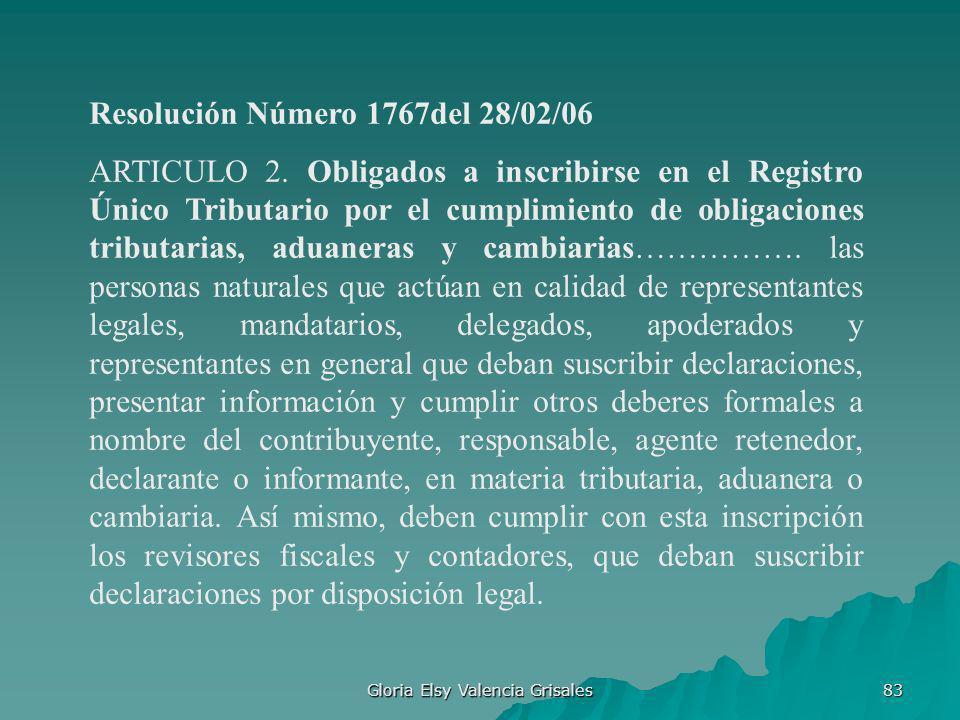 Gloria Elsy Valencia Grisales 83 Resolución Número 1767del 28/02/06 ARTICULO 2. Obligados a inscribirse en el Registro Único Tributario por el cumplim