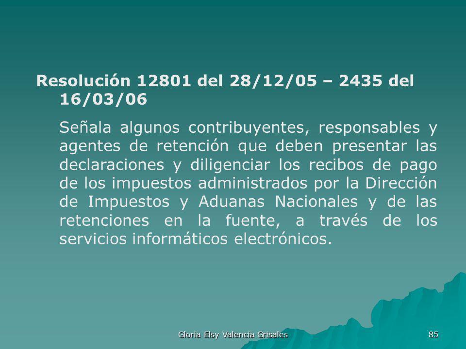 Gloria Elsy Valencia Grisales 85 Resolución 12801 del 28/12/05 – 2435 del 16/03/06 Señala algunos contribuyentes, responsables y agentes de retención
