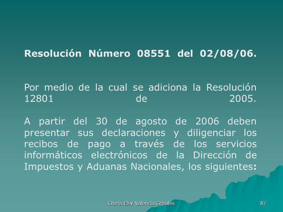 Gloria Elsy Valencia Grisales 87 Resolución Número 08551 del 02/08/06. Por medio de la cual se adiciona la Resolución 12801 de 2005. A partir del 30 d