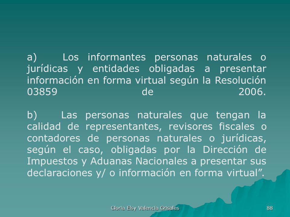 Gloria Elsy Valencia Grisales 88 a) Los informantes personas naturales o jurídicas y entidades obligadas a presentar información en forma virtual segú