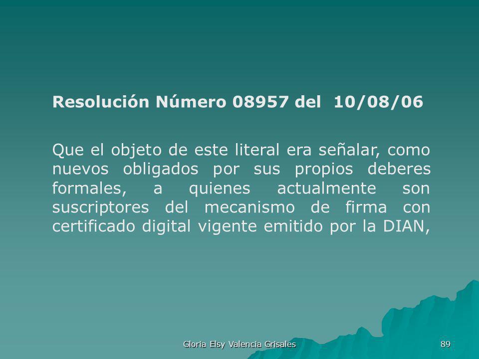 Gloria Elsy Valencia Grisales 89 Resolución Número 08957 del 10/08/06 Que el objeto de este literal era señalar, como nuevos obligados por sus propios