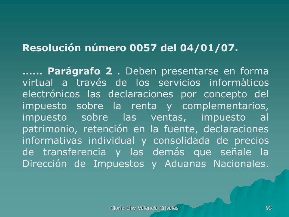 Gloria Elsy Valencia Grisales 93 Resolución número 0057 del 04/01/07. …… Parágrafo 2. Deben presentarse en forma virtual a través de los servicios inf