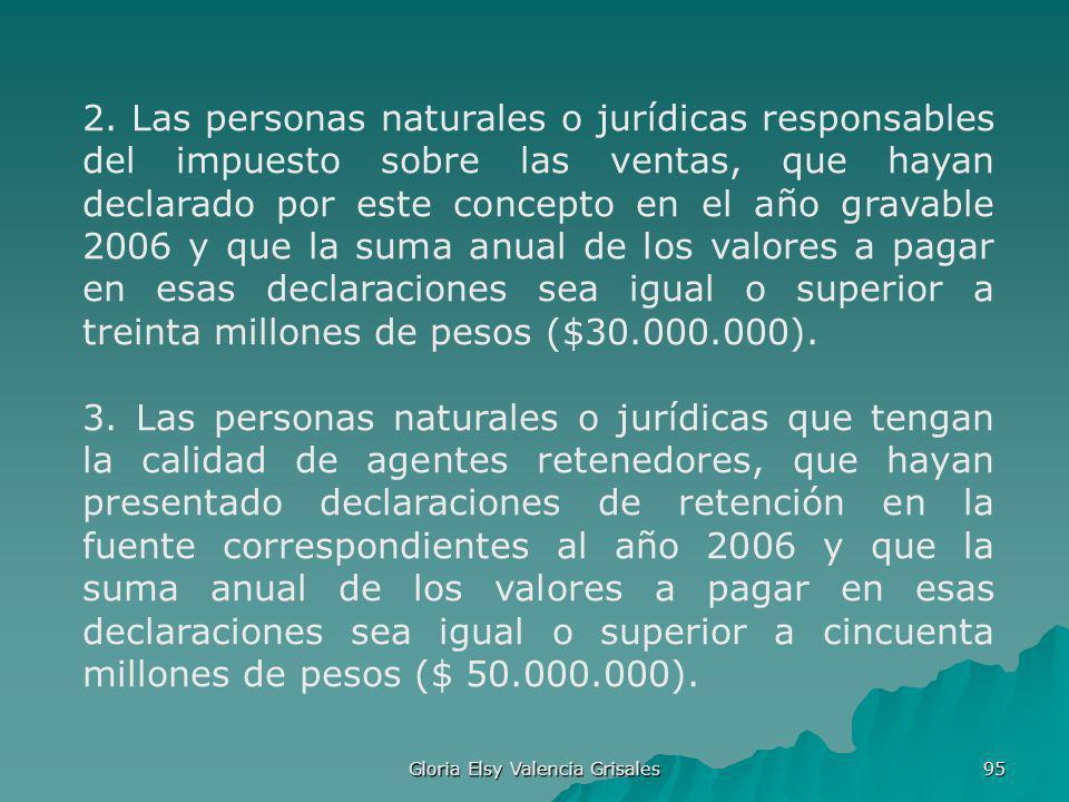 Gloria Elsy Valencia Grisales 95 2. Las personas naturales o jurídicas responsables del impuesto sobre las ventas, que hayan declarado por este concep