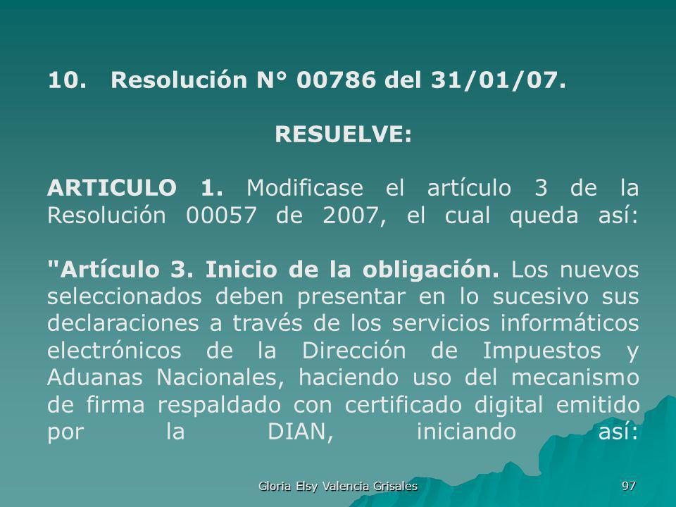 Gloria Elsy Valencia Grisales 97 10. Resolución N° 00786 del 31/01/07. RESUELVE: ARTICULO 1. Modificase el artículo 3 de la Resolución 00057 de 2007,