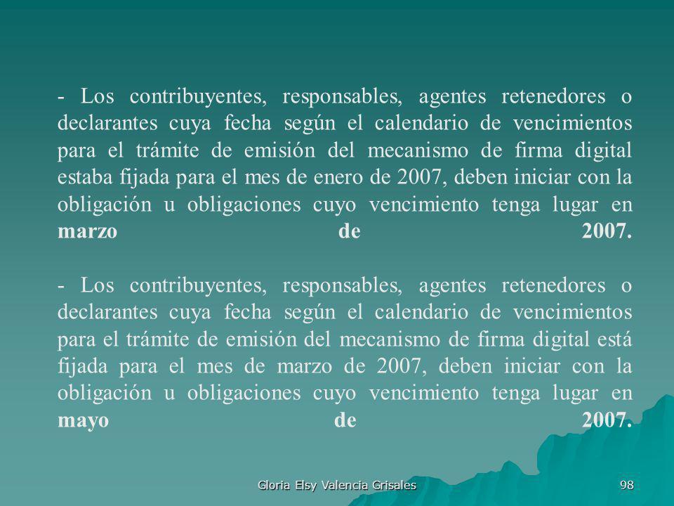 Gloria Elsy Valencia Grisales 98 - Los contribuyentes, responsables, agentes retenedores o declarantes cuya fecha según el calendario de vencimientos