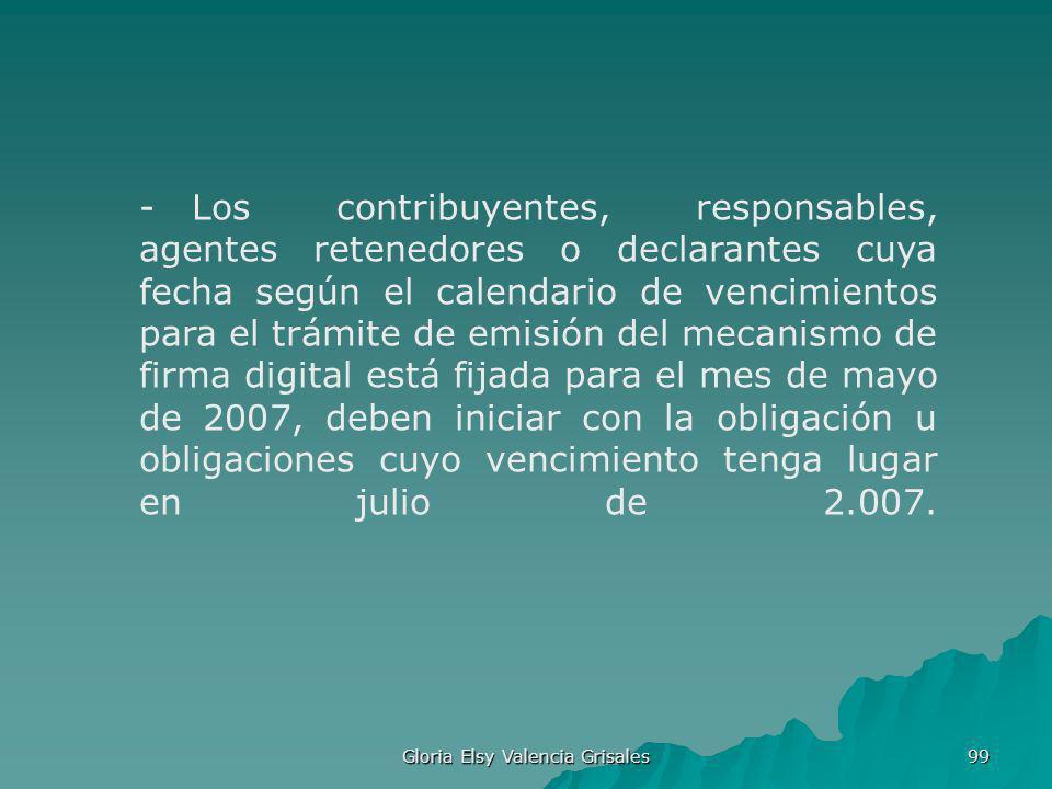 Gloria Elsy Valencia Grisales 99 - Los contribuyentes, responsables, agentes retenedores o declarantes cuya fecha según el calendario de vencimientos