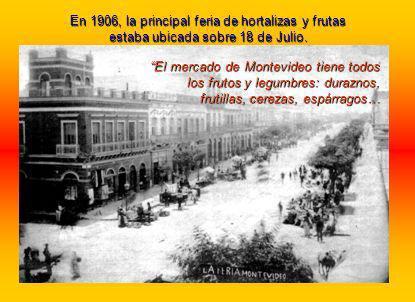 El mercado de Montevideo tiene todos los frutos y legumbres: duraznos, frutillas, cerezas, espárragos… En 1906, la principal feria de hortalizas y frutas estaba ubicada sobre 18 de Julio.