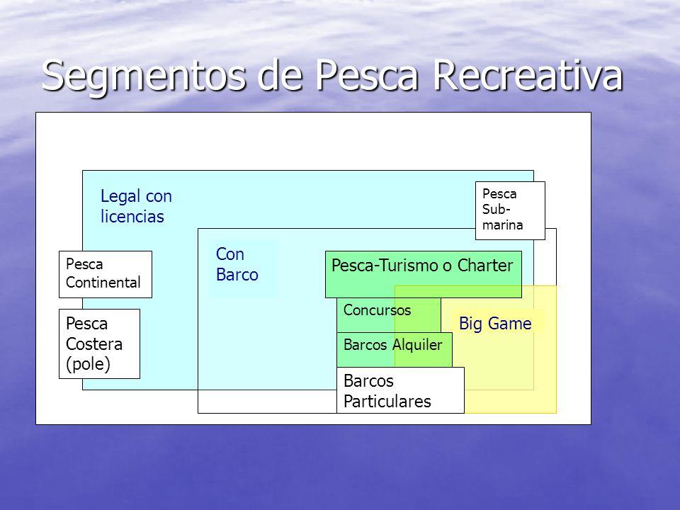 Segmentos de Pesca Recreativa Legal con licencias Pesca Continental Pesca Costera (pole) Con Barco Big Game Barcos Particulares Barcos Alquiler Pesca-Turismo o Charter Concursos Pesca Sub- marina