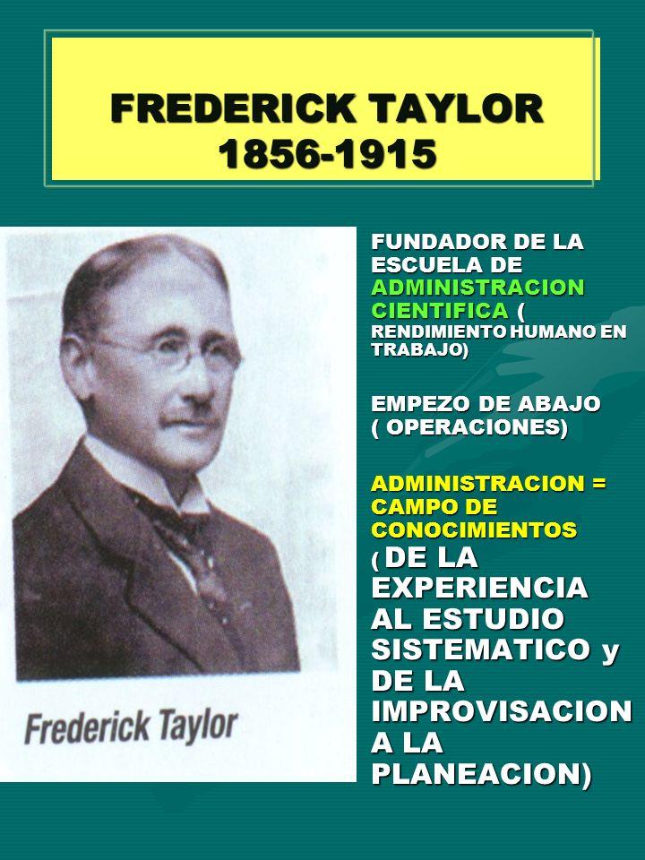 FREDERICK TAYLOR 1856-1915 FUNDADOR DE LA ESCUELA DE ADMINISTRACION CIENTIFICA ( RENDIMIENTO HUMANO EN TRABAJO) EMPEZO DE ABAJO ( OPERACIONES) ADMINIS