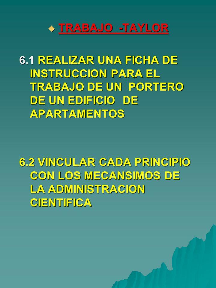 TRABAJO -TAYLOR TRABAJO -TAYLOR 6.1 REALIZAR UNA FICHA DE INSTRUCCION PARA EL TRABAJO DE UN PORTERO DE UN EDIFICIO DE APARTAMENTOS 6.2 VINCULAR CADA P