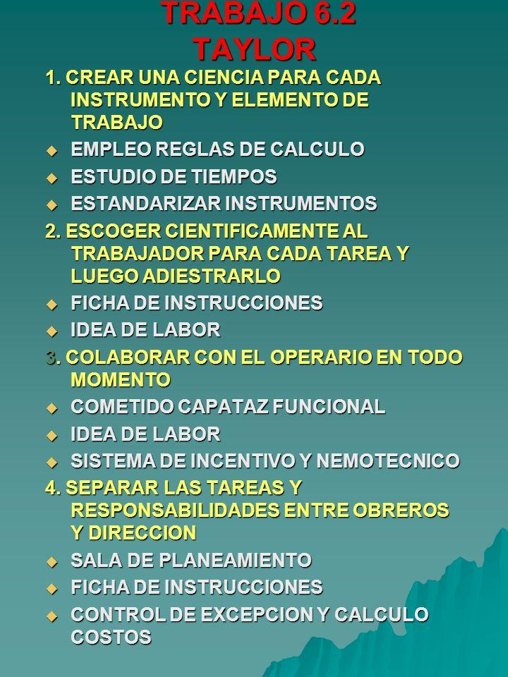 TRABAJO 6.2 TAYLOR TRABAJO 6.2 TAYLOR 1. CREAR UNA CIENCIA PARA CADA INSTRUMENTO Y ELEMENTO DE TRABAJO EMPLEO REGLAS DE CALCULO EMPLEO REGLAS DE CALCU