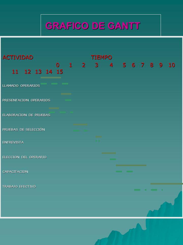 GRAFICO DE GANTT GRAFICO DE GANTT ACTIVIDAD TIEMPO 0 1 2 3 4 5 6 7 8 9 10 11 12 13 14 15 0 1 2 3 4 5 6 7 8 9 10 11 12 13 14 15 LLAMADO OPERARIOS PRESE