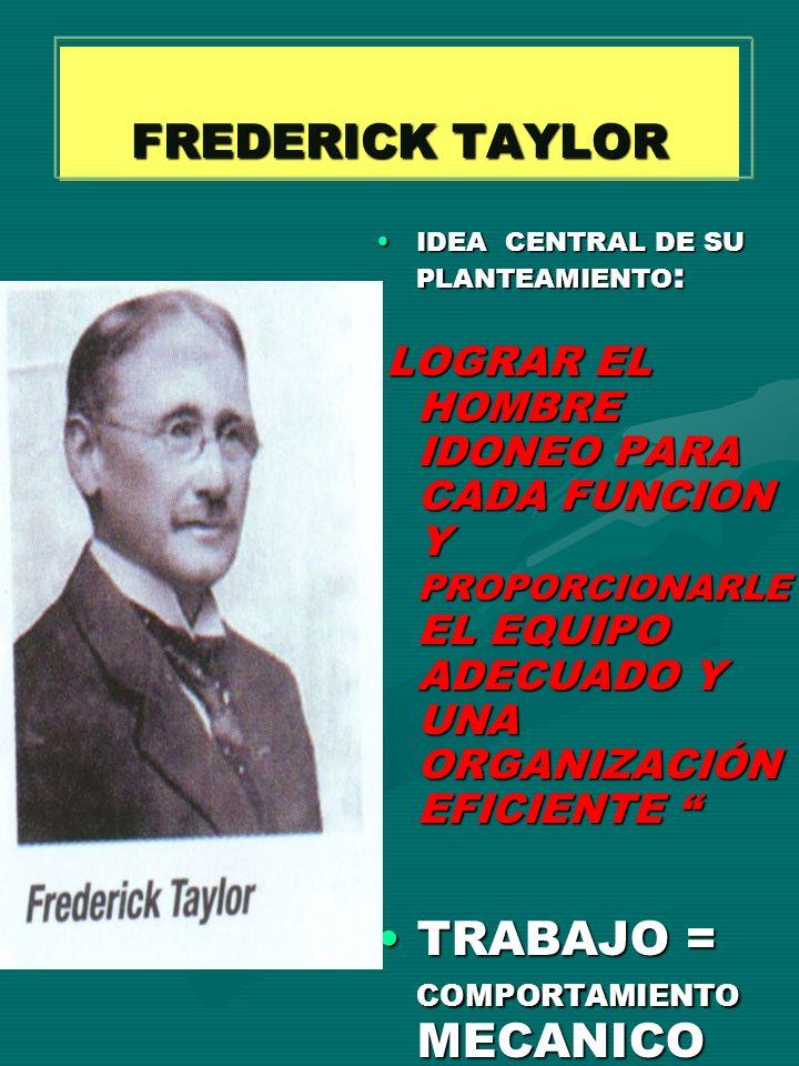 FREDERICK TAYLOR IDEA CENTRAL DE SU PLANTEAMIENTO : LOGRAR EL HOMBRE IDONEO PARA CADA FUNCION Y PROPORCIONARLE EL EQUIPO ADECUADO Y UNA ORGANIZACIÓN E
