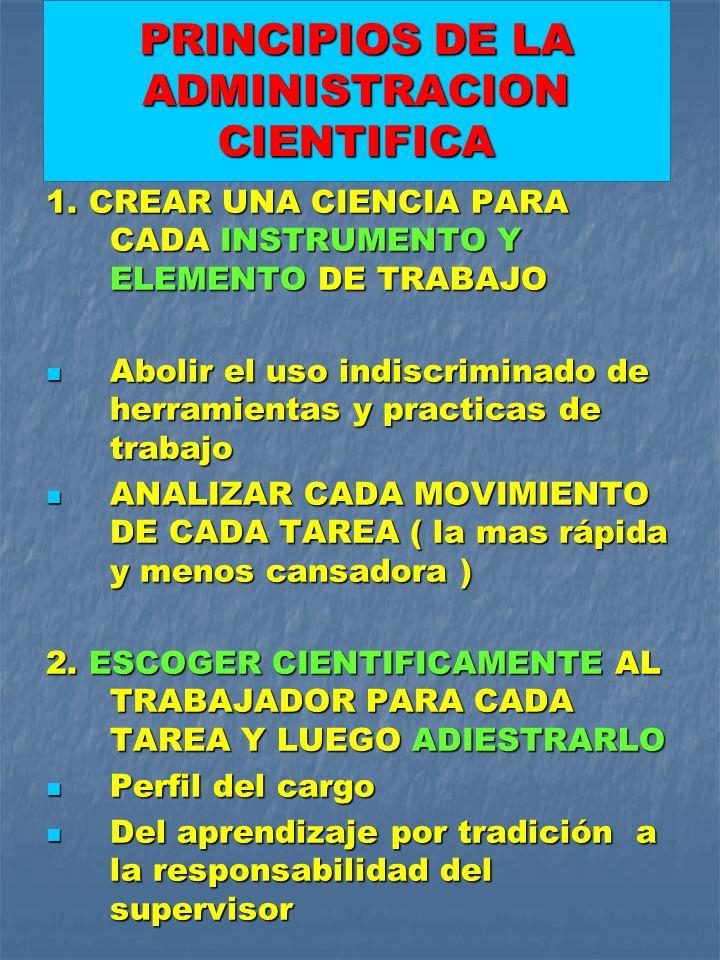 1. CREAR UNA CIENCIA PARA CADA INSTRUMENTO Y ELEMENTO DE TRABAJO Abolir el uso indiscriminado de herramientas y practicas de trabajo Abolir el uso ind