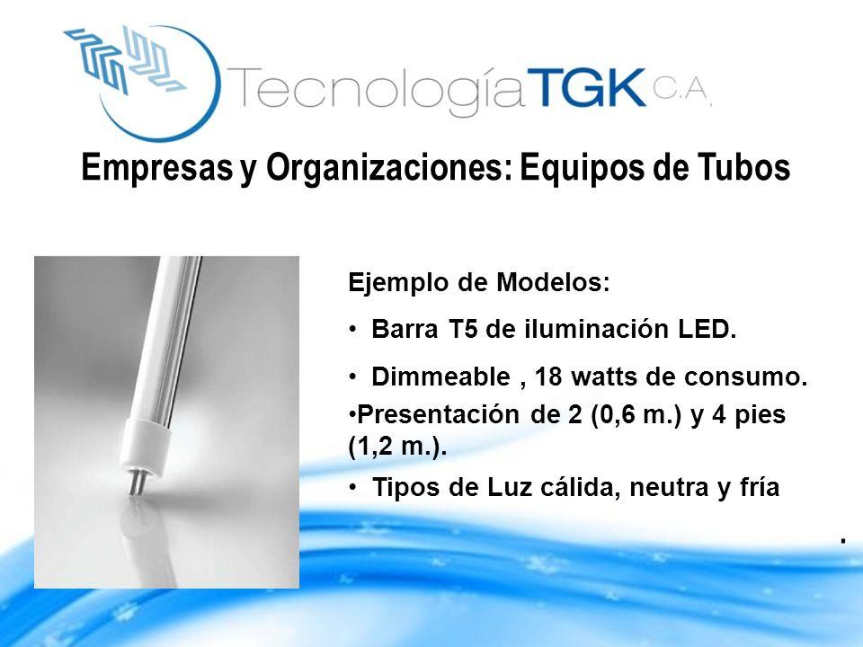 Ejemplo de Modelos: Barra T5 de iluminación LED. Dimmeable, 18 watts de consumo. Presentación de 2 (0,6 m.) y 4 pies (1,2 m.). Tipos de Luz cálida, ne