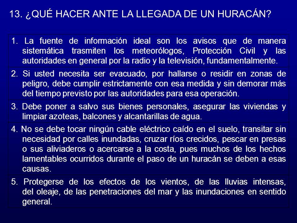 13.¿QUÉ HACER ANTE LA LLEGADA DE UN HURACÁN. 1.