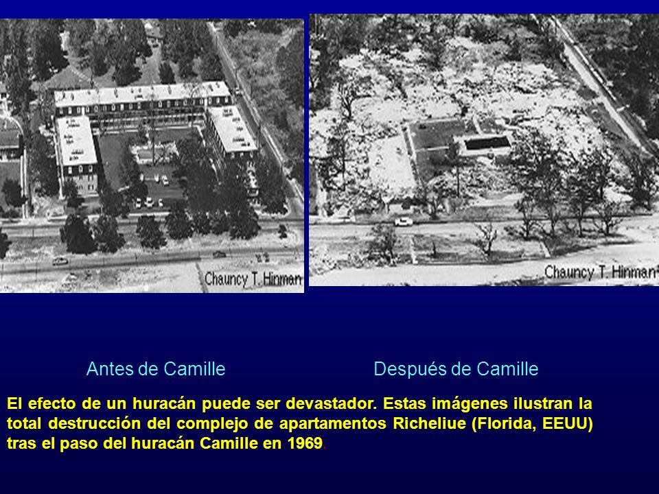 Antes de CamilleDespués de Camille El efecto de un huracán puede ser devastador.