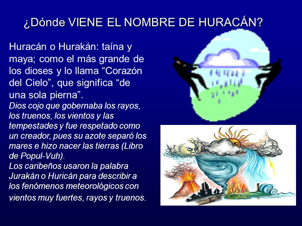Huracán o Hurakán: taína y maya; como el más grande de los dioses y lo llama Corazón del Cielo, que significa de una sola pierna.