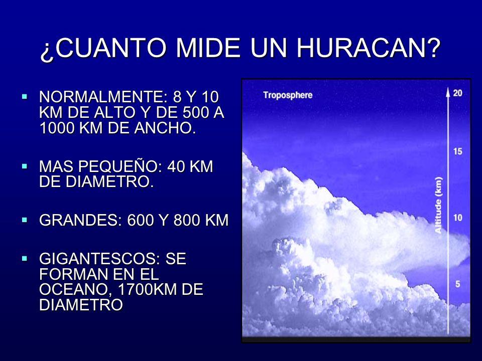 ¿CUANTO MIDE UN HURACAN.NORMALMENTE: 8 Y 10 KM DE ALTO Y DE 500 A 1000 KM DE ANCHO.