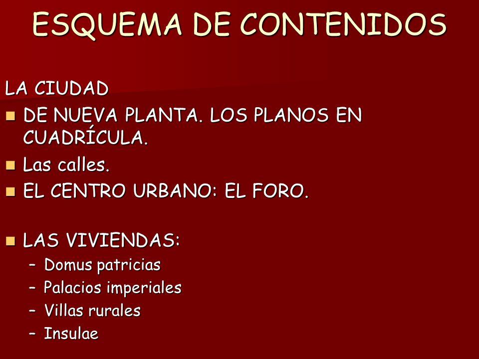 ESQUEMA DE CONTENIDOS LA CIUDAD DE NUEVA PLANTA.LOS PLANOS EN CUADRÍCULA.