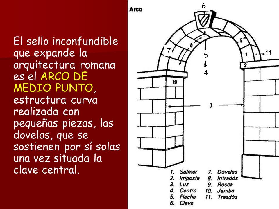 El sello inconfundible que expande la arquitectura romana es el ARCO DE MEDIO PUNTO, estructura curva realizada con pequeñas piezas, las dovelas, que se sostienen por sí solas una vez situada la clave central.